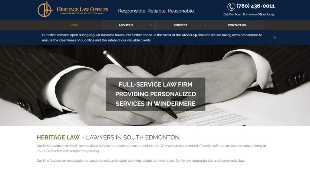 Heritage Law Offices' Homepage