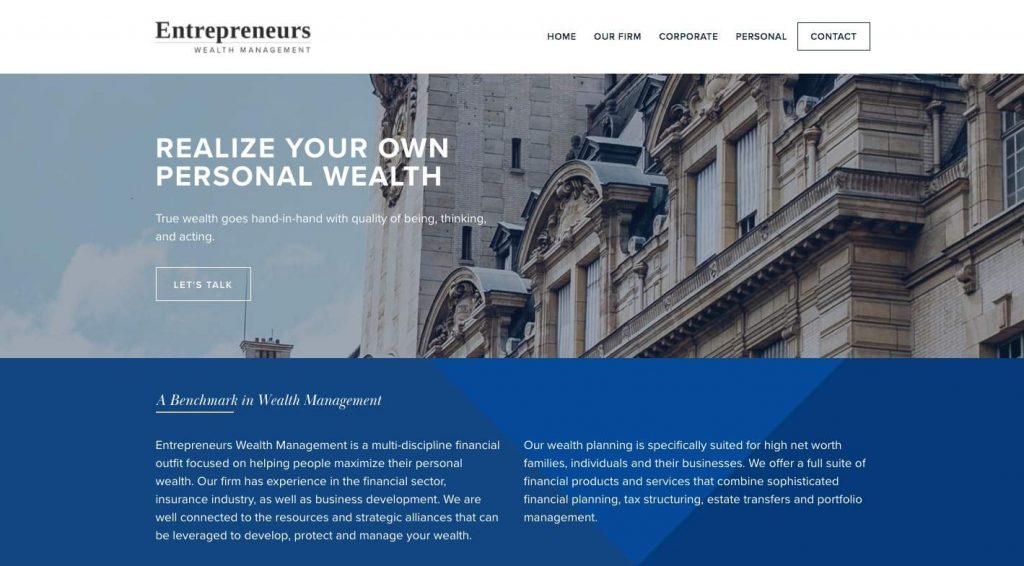 T. Charlay Fatal of Entrepreneurs Wealth Management's Homepage