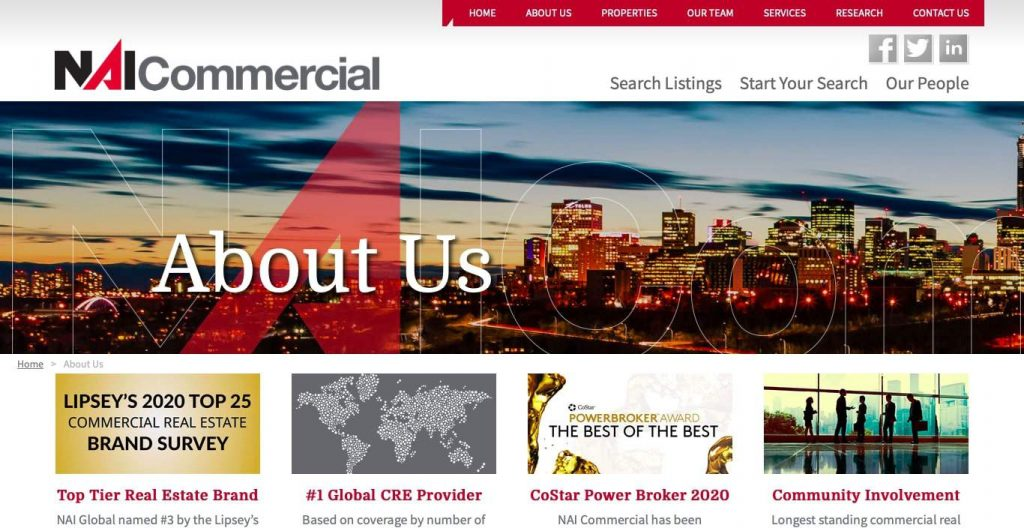 NAI Commercial Real Estate's Homepage